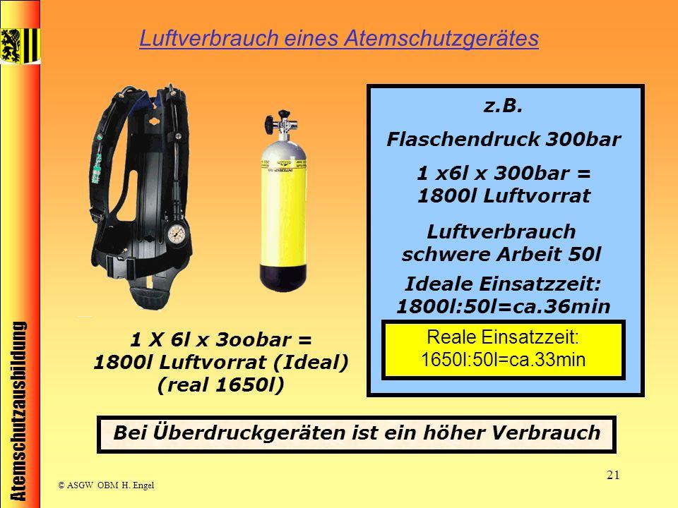 Atemschutzausbildung © ASGW OBM H. Engel 21 Luftverbrauch eines Atemschutzgerätes 1 X 6l x 3oobar = 1800l Luftvorrat (Ideal) (real 1650l) z.B. Flasche
