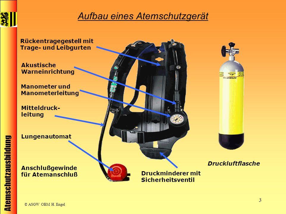 Atemschutzausbildung © ASGW OBM H. Engel 3 Druckluftflasche Rückentragegestell mit Trage- und Leibgurten Druckminderer mit Sicherheitsventil Manometer