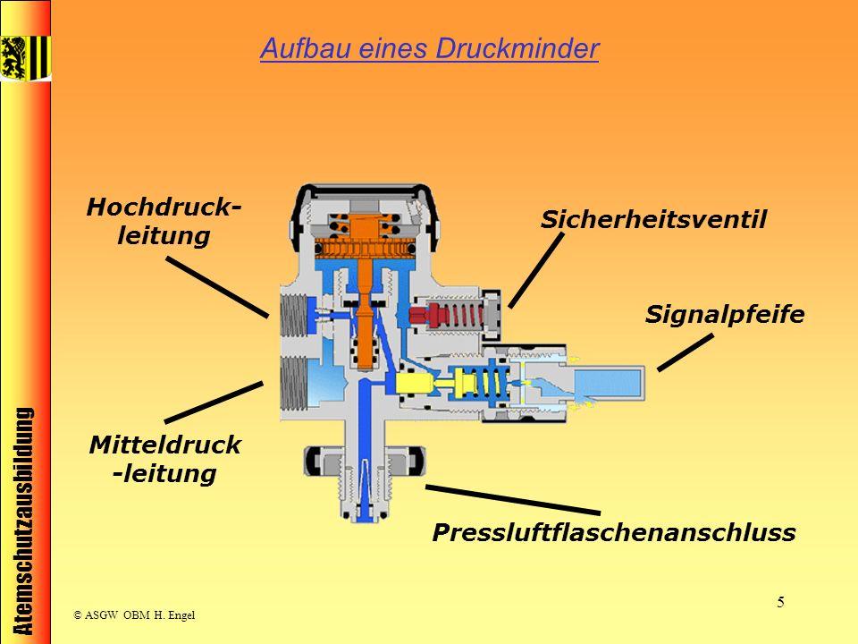 Atemschutzausbildung © ASGW OBM H. Engel 5 Aufbau eines Druckminder Pressluftflaschenanschluss Hochdruck- leitung Mitteldruck -leitung Sicherheitsvent