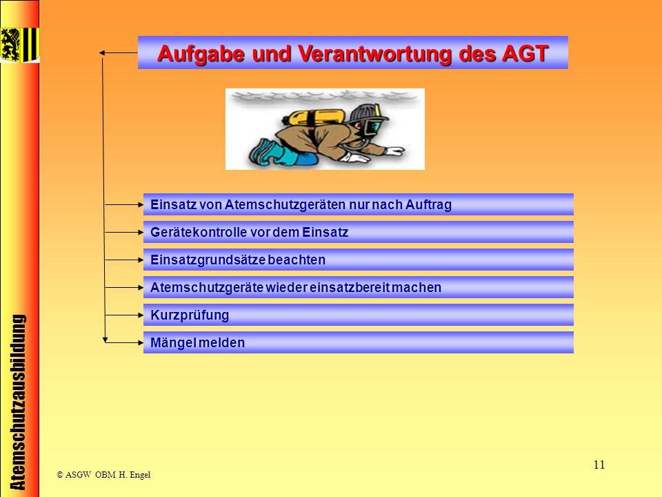Atemschutzausbildung © ASGW OBM H. Engel 11 Aufgabe und Verantwortung des AGT Einsatz von Atemschutzgeräten nur nach Auftrag Gerätekontrolle vor dem E