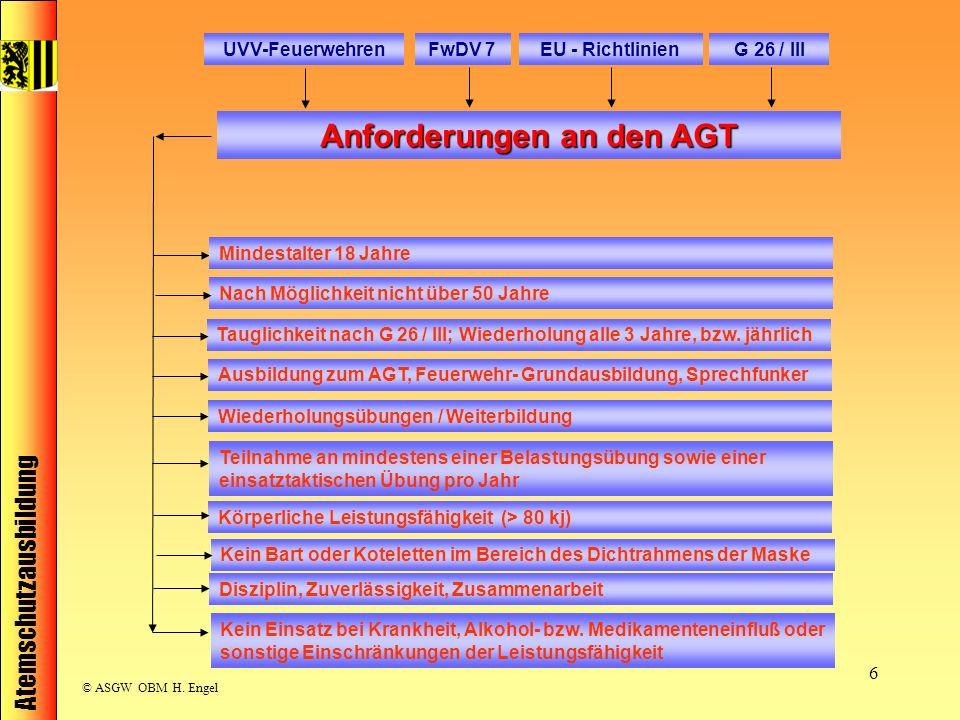 Atemschutzausbildung © ASGW OBM H. Engel 6 UVV-FeuerwehrenFwDV 7EU - RichtlinienG 26 / III Anforderungen an den AGT Teilnahme an mindestens einer Bela