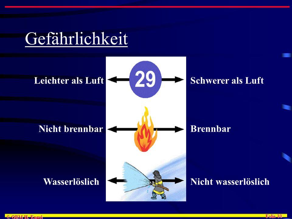 Folie 10 © OBM H. Engel Gefährlichkeit Leichter als LuftSchwerer als Luft Nicht brennbar Brennbar WasserlöslichNicht wasserlöslich