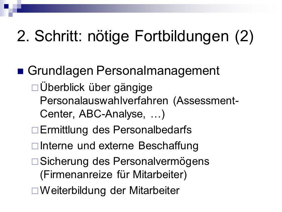 2. Schritt: nötige Fortbildungen (2) Grundlagen Personalmanagement Überblick über gängige Personalauswahlverfahren (Assessment- Center, ABC-Analyse, …