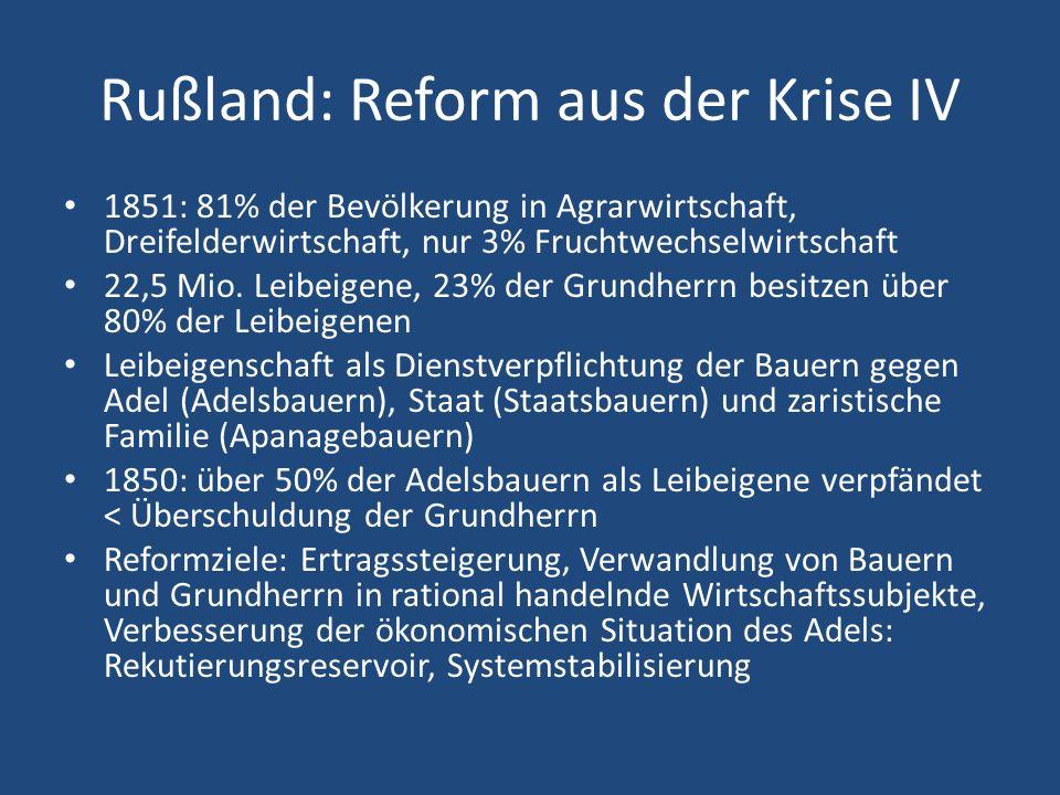 Rußland: Reform aus der Krise IV 1851: 81% der Bevölkerung in Agrarwirtschaft, Dreifelderwirtschaft, nur 3% Fruchtwechselwirtschaft 22,5 Mio. Leibeige