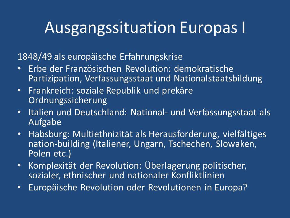 Ausgangssituation Europas I 1848/49 als europäische Erfahrungskrise Erbe der Französischen Revolution: demokratische Partizipation, Verfassungsstaat u