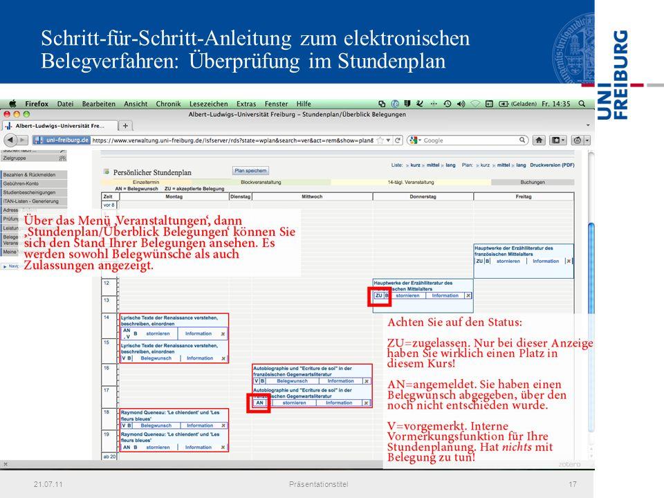 21.07.11Präsentationstitel17 Schritt-für-Schritt-Anleitung zum elektronischen Belegverfahren: Überprüfung im Stundenplan