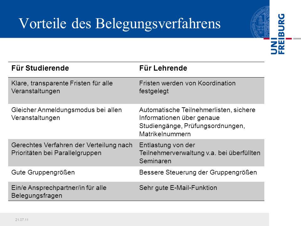 21.07.11Präsentationstitel14 Schritt-für-Schritt-Anleitung zum elektronischen Belegverfahren: Belegung von Seminaren mit Parallelgruppen