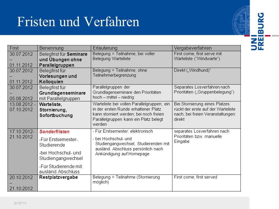 21.07.11Präsentationstitel16 Schritt-für-Schritt-Anleitung zum elektronischen Belegverfahren: Belegung von Seminaren und Übungen