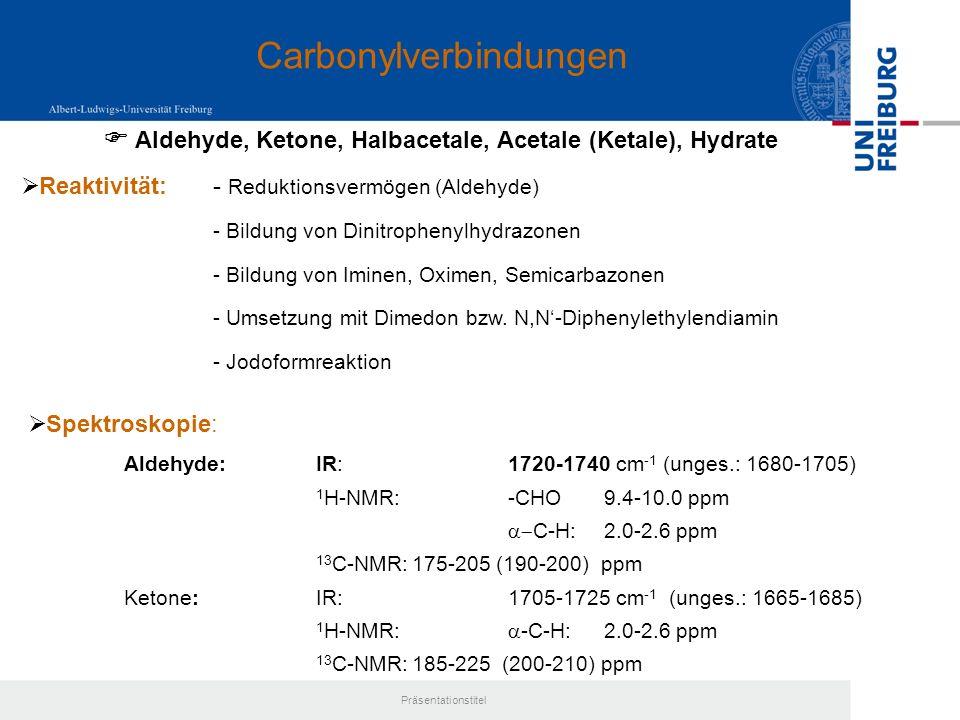 Präsentationstitel Leichte Hydrolyse, Aminolyse, Alkoholyse Salicylsäure + Essigsäure (-amid / -ester) Vinyloges Säureanhydrid Rasche Zersetzung an feuchter Luft Acetylsalicylsäure