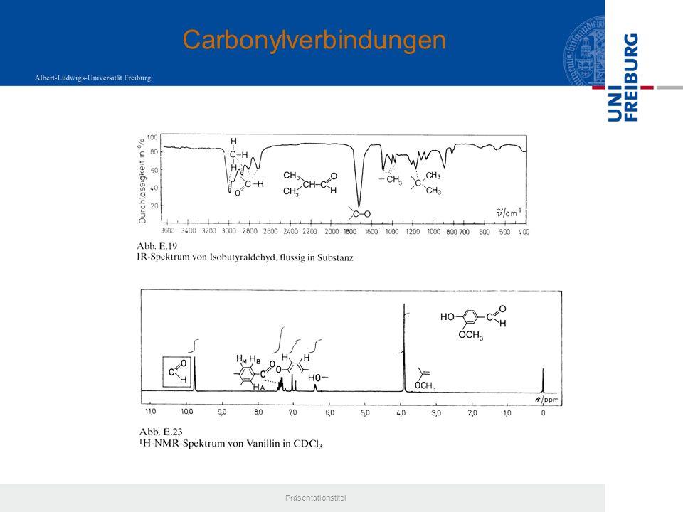 Präsentationstitel Osazonbildung: Umsetzung mit Phenylhydrazin Bisphenylhydrazone, Emil Fischer (1884) Voraussetzung: Proton in -Position Charakterisierung der Osazone über Smp.