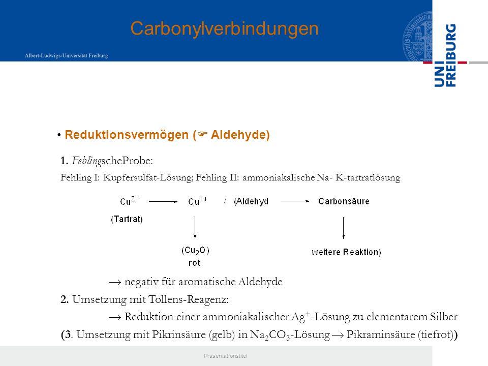 Präsentationstitel Bildung von 2,4-Dinitrophenylhydrazonen ( Aldehyde oder Ketone) Dinitrophenylhydrazone:gelb-orange, -ungesättigt: tiefrot Carbonylverbindungen