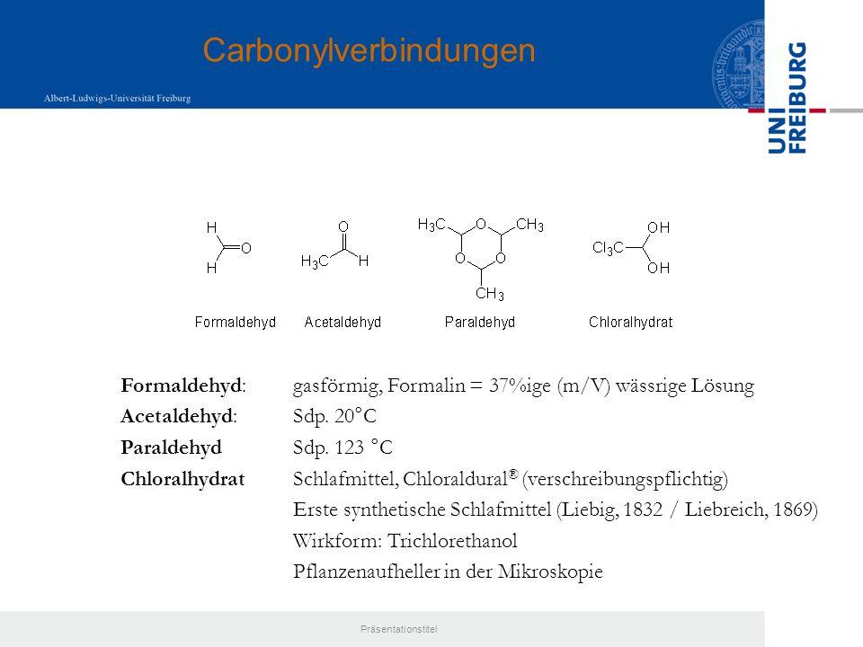 Präsentationstitel Reaktivität: - gefärbte Verbindungen - als Ketone: Addition von Nukleophilen, z.B.
