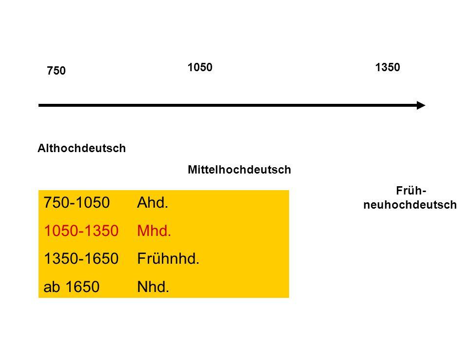 750 Althochdeutsch Mittelhochdeutsch Früh- neuhochdeutsch 10501350 750-1050Ahd.