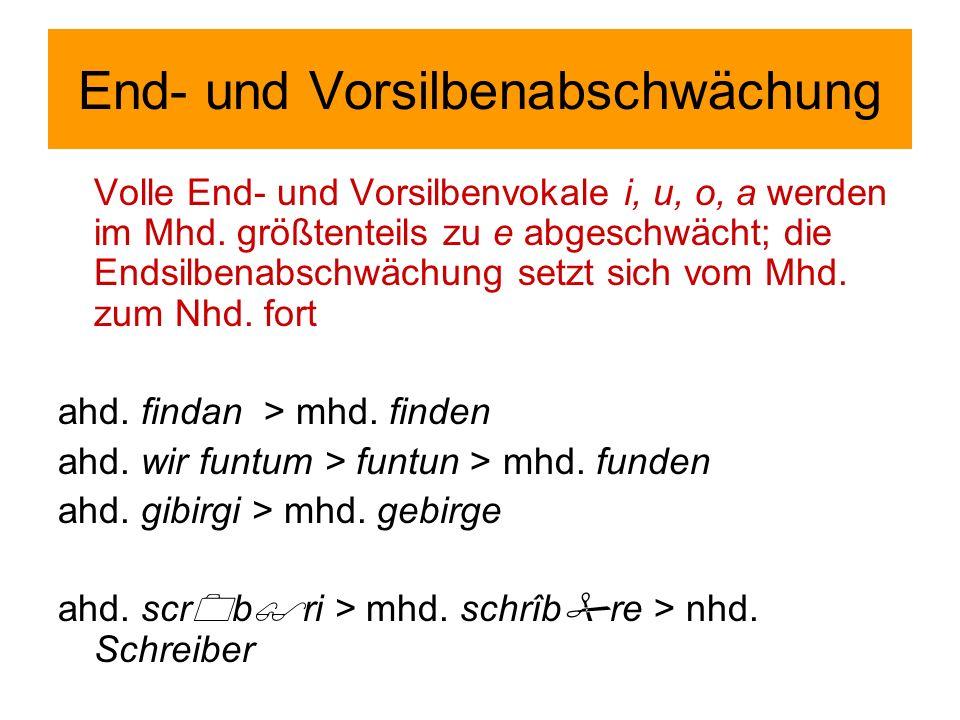 End- und Vorsilbenabschwächung Volle End- und Vorsilbenvokale i, u, o, a werden im Mhd.