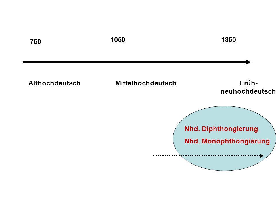 750 Althochdeutsch Mittelhochdeutsch Früh- neuhochdeutsch Nhd.
