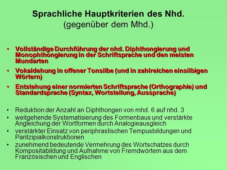 Sprachliche Hauptkriterien des Nhd.(gegenüber dem Mhd.) Vollständige Durchführung der nhd.