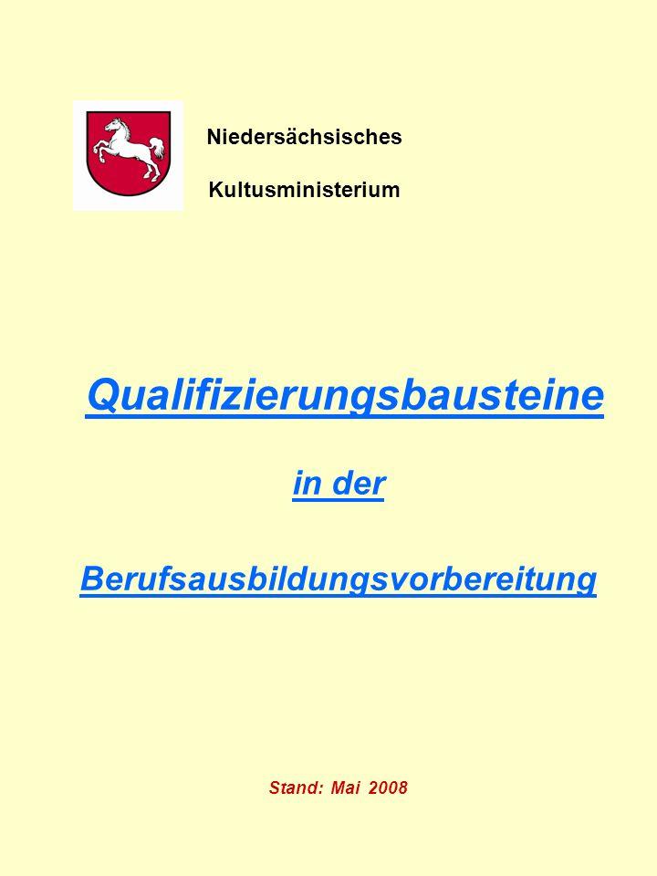Qualifizierungsbausteine in der Berufsausbildungsvorbereitung Stand: Mai 2008 Niedersächsisches Kultusministerium