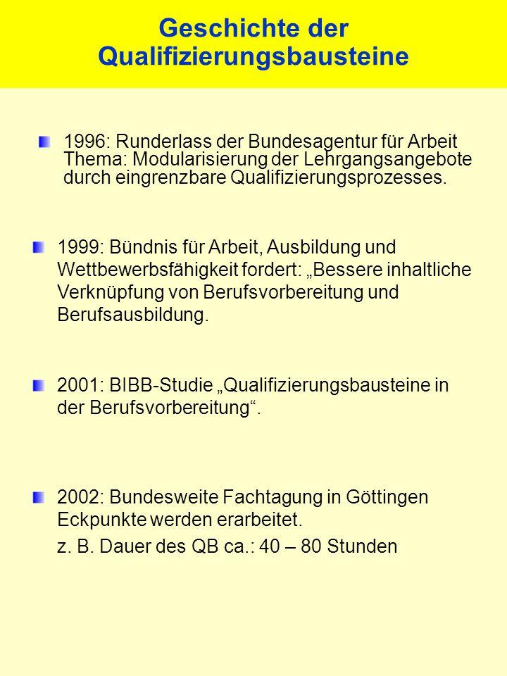 Geschichte der Qualifizierungsbausteine 1996: Runderlass der Bundesagentur für Arbeit Thema: Modularisierung der Lehrgangsangebote durch eingrenzbare Qualifizierungsprozesses.