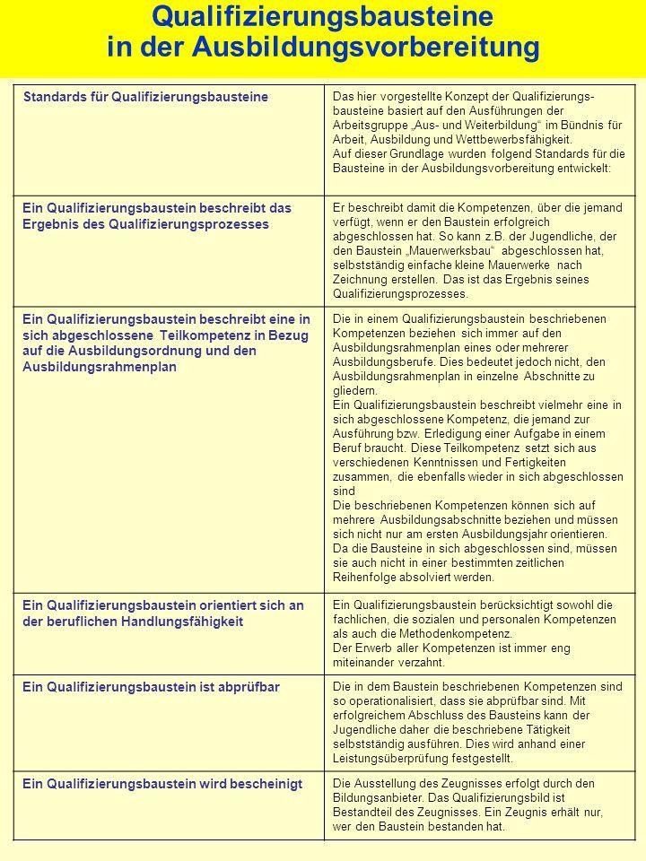 Standards für Qualifizierungsbausteine Das hier vorgestellte Konzept der Qualifizierungs- bausteine basiert auf den Ausführungen der Arbeitsgruppe Aus- und Weiterbildung im Bündnis für Arbeit, Ausbildung und Wettbewerbsfähigkeit.