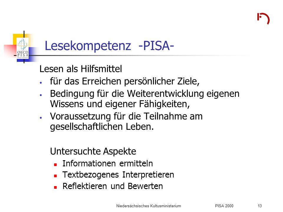 Niedersächsisches KultusministeriumPISA 2000 13 Lesekompetenz -PISA- Lesen als Hilfsmittel für das Erreichen persönlicher Ziele, Bedingung für die Wei
