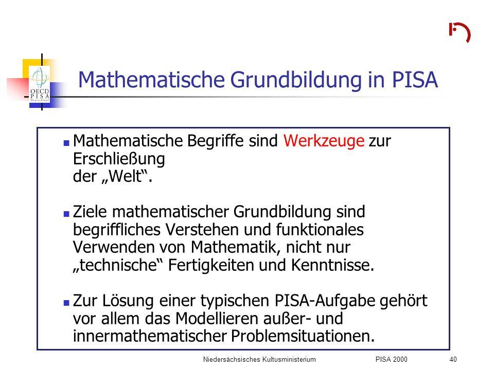 Niedersächsisches KultusministeriumPISA 2000 40 Mathematische Grundbildung in PISA Mathematische Begriffe sind Werkzeuge zur Erschließung der Welt. Zi