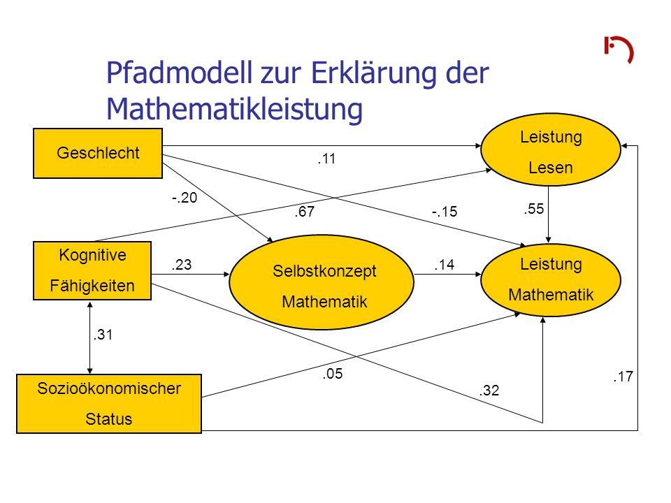 Pfadmodell zur Erklärung der Mathematikleistung Geschlecht Kognitive Fähigkeiten Sozioökonomischer Status.11 -.15.55.67 -.20.14.23.32.17.05.31 Selbstk