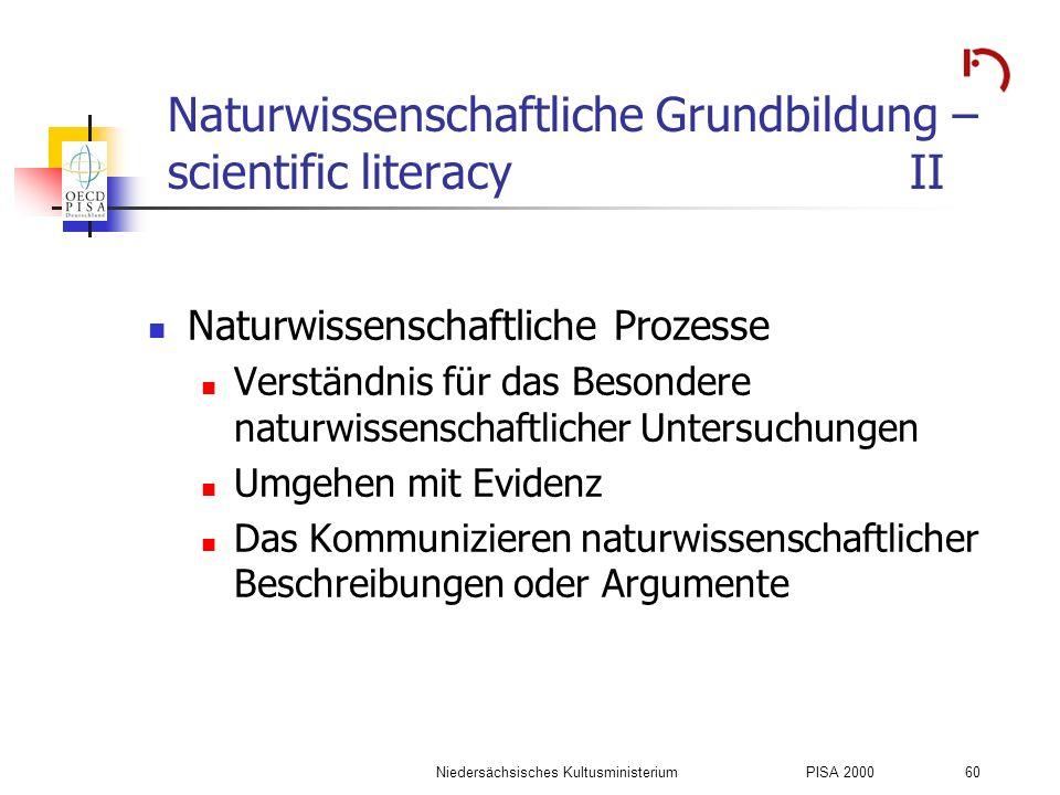 Niedersächsisches KultusministeriumPISA 2000 60 Naturwissenschaftliche Grundbildung – scientific literacyII Naturwissenschaftliche Prozesse Verständni