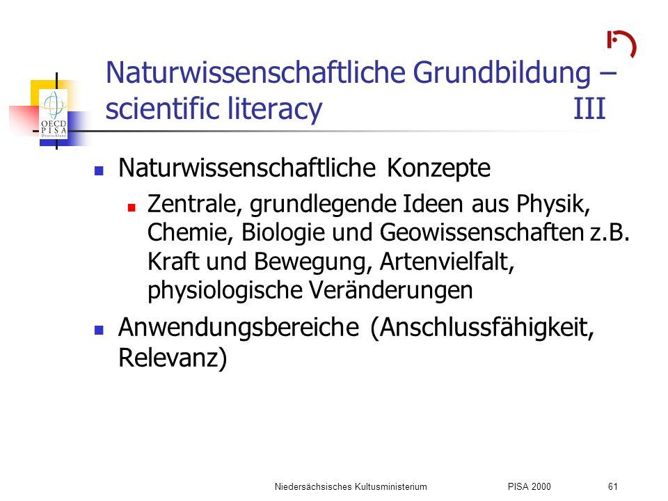 Niedersächsisches KultusministeriumPISA 2000 61 Naturwissenschaftliche Grundbildung – scientific literacyIII Naturwissenschaftliche Konzepte Zentrale,