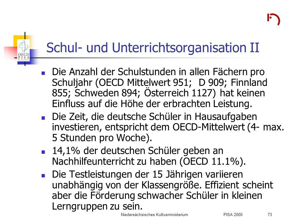 Niedersächsisches KultusministeriumPISA 2000 73 Schul- und Unterrichtsorganisation II Die Anzahl der Schulstunden in allen Fächern pro Schuljahr (OECD