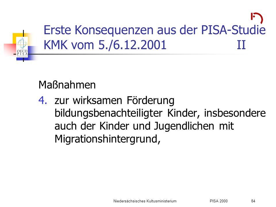 Niedersächsisches KultusministeriumPISA 2000 84 Erste Konsequenzen aus der PISA-Studie KMK vom 5./6.12.2001II Maßnahmen 4.zur wirksamen Förderung bild
