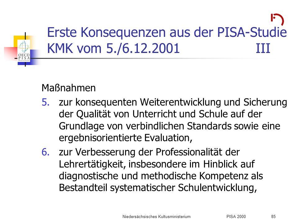 Niedersächsisches KultusministeriumPISA 2000 85 Erste Konsequenzen aus der PISA-Studie KMK vom 5./6.12.2001III Maßnahmen 5.zur konsequenten Weiterentw