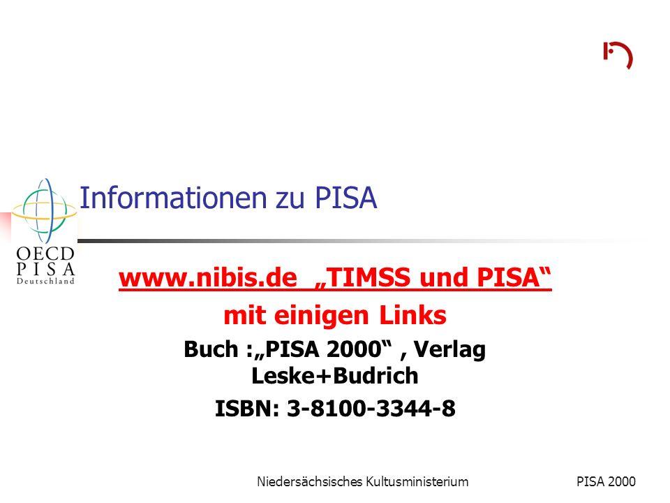 Niedersächsisches KultusministeriumPISA 2000 Informationen zu PISA www.nibis.de TIMSS und PISA mit einigen Links Buch :PISA 2000, Verlag Leske+Budrich