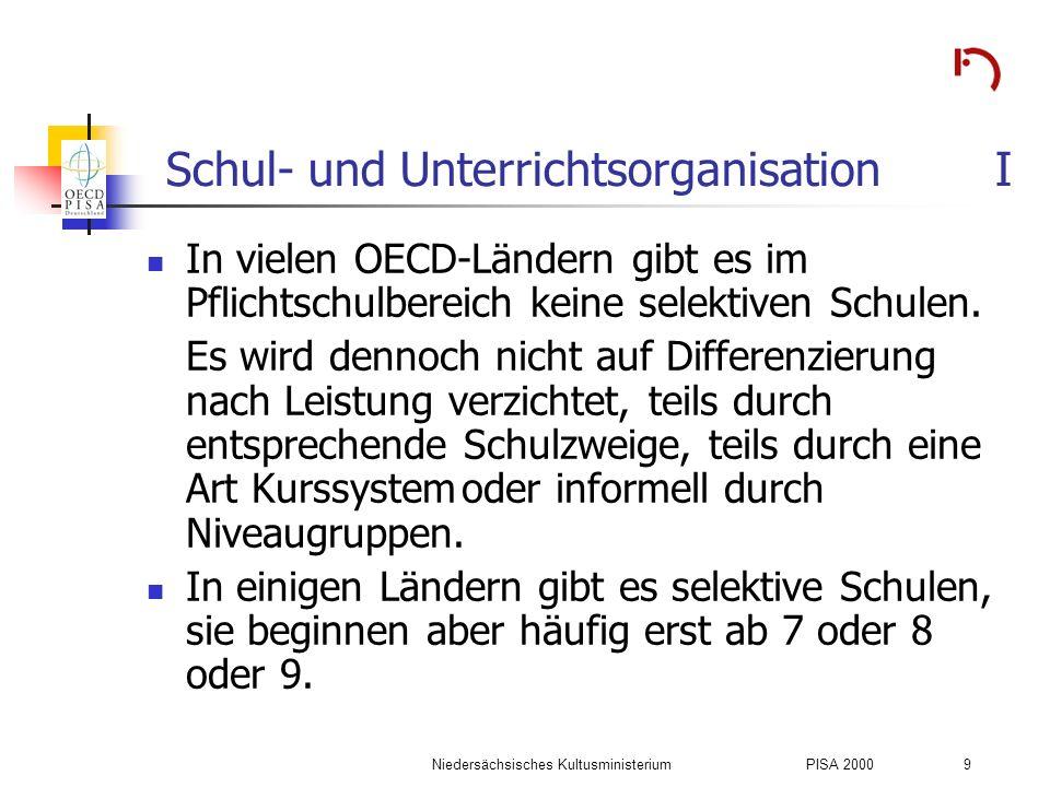 Niedersächsisches KultusministeriumPISA 2000 9 Schul- und Unterrichtsorganisation I In vielen OECD-Ländern gibt es im Pflichtschulbereich keine selekt