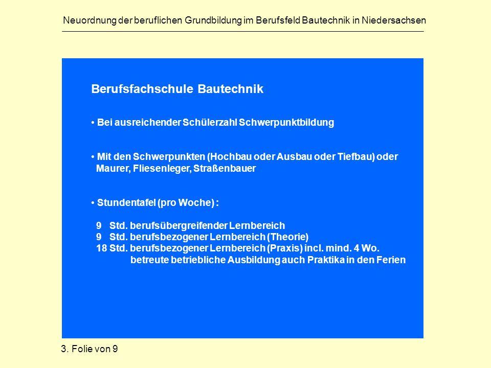 Neuordnung der beruflichen Grundbildung im Berufsfeld Bautechnik in Niedersachsen Berufsfachschule Bautechnik Bei ausreichender Schülerzahl Schwerpunk