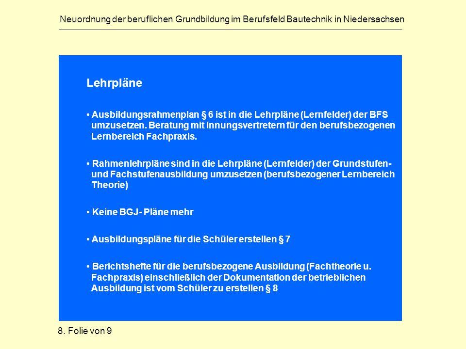 Neuordnung der beruflichen Grundbildung im Berufsfeld Bautechnik in Niedersachsen Lehrpläne Ausbildungsrahmenplan § 6 ist in die Lehrpläne (Lernfelder