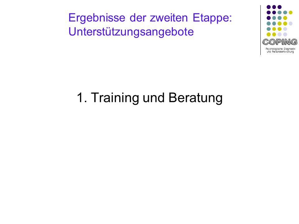 Psychologische Diagnostik und Personalentwicklung Ergebnisse der zweiten Etappe: Unterstützungsangebote 1.