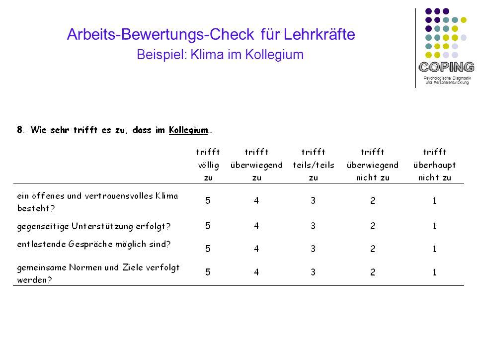 Psychologische Diagnostik und Personalentwicklung Arbeits-Bewertungs-Check für Lehrkräfte Beispiel: Klima im Kollegium
