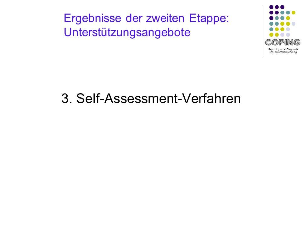 Psychologische Diagnostik und Personalentwicklung Ergebnisse der zweiten Etappe: Unterstützungsangebote 3.