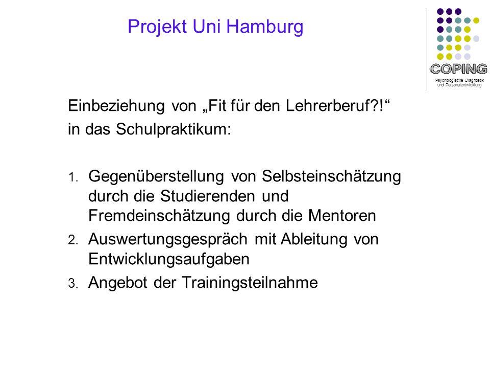 Psychologische Diagnostik und Personalentwicklung Projekt Uni Hamburg Einbeziehung von Fit für den Lehrerberuf?.