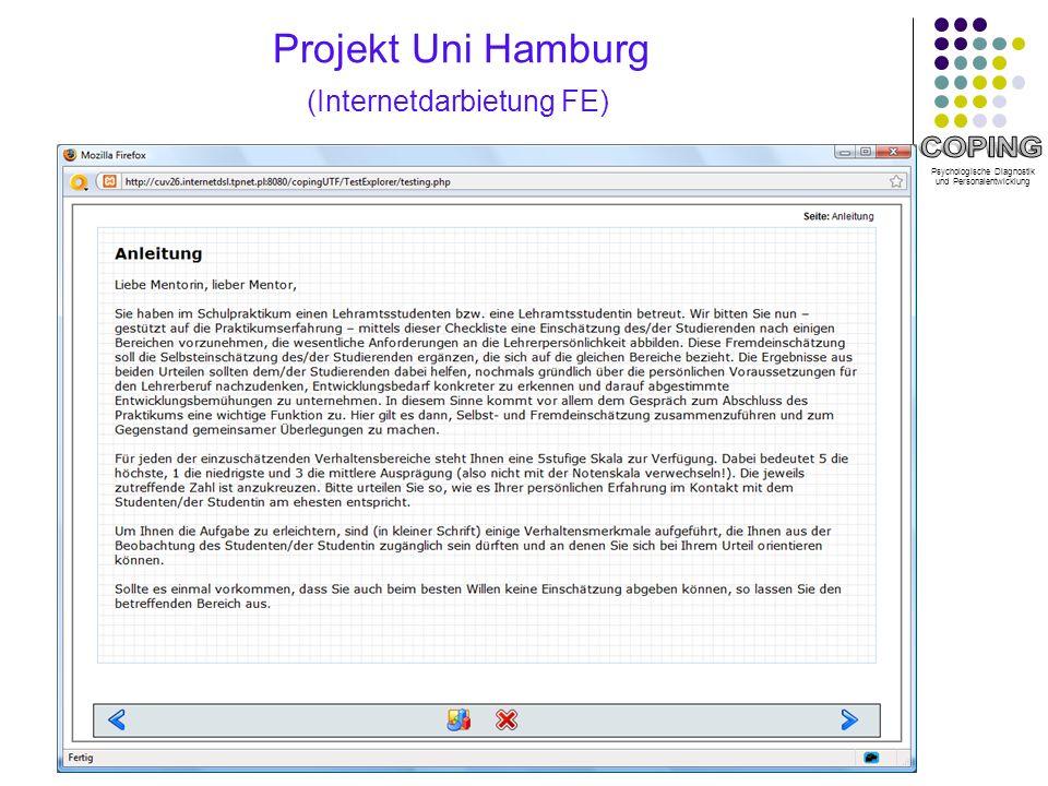 Psychologische Diagnostik und Personalentwicklung Projekt Uni Hamburg (Internetdarbietung FE)