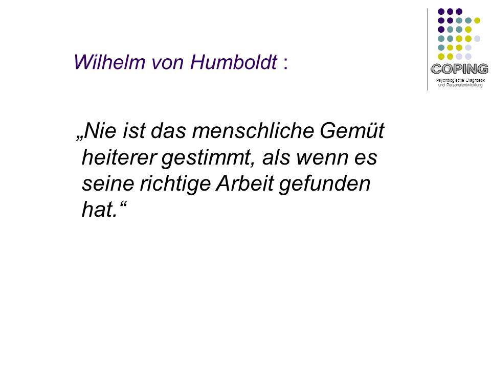 Psychologische Diagnostik und Personalentwicklung Wilhelm von Humboldt : Nie ist das menschliche Gemüt heiterer gestimmt, als wenn es seine richtige Arbeit gefunden hat.