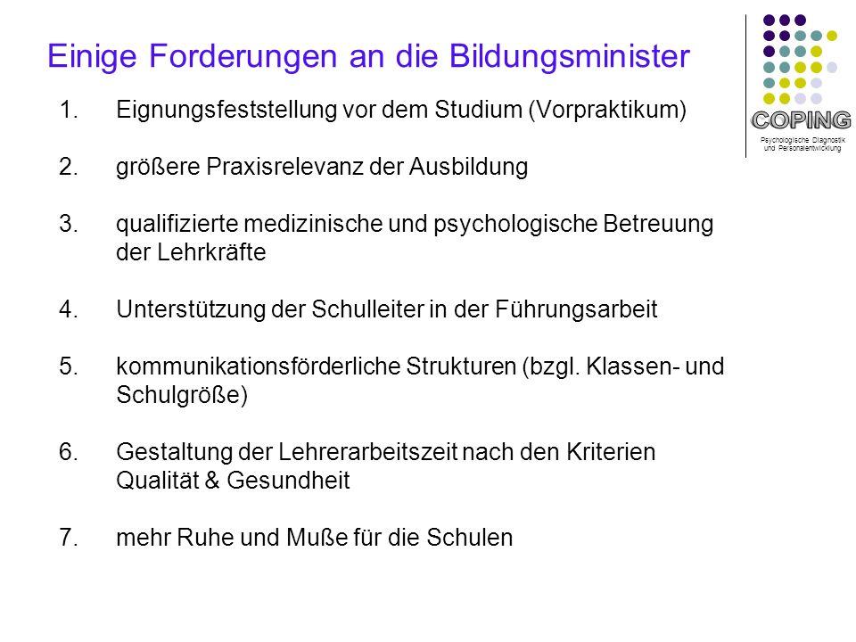 Psychologische Diagnostik und Personalentwicklung Einige Forderungen an die Bildungsminister 1.
