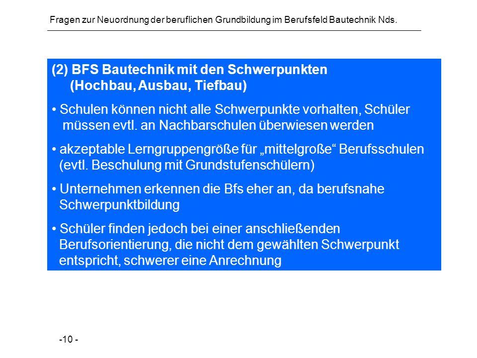 Fragen zur Neuordnung der beruflichen Grundbildung im Berufsfeld Bautechnik Nds. -10 - (2) BFS Bautechnik mit den Schwerpunkten (Hochbau, Ausbau, Tief