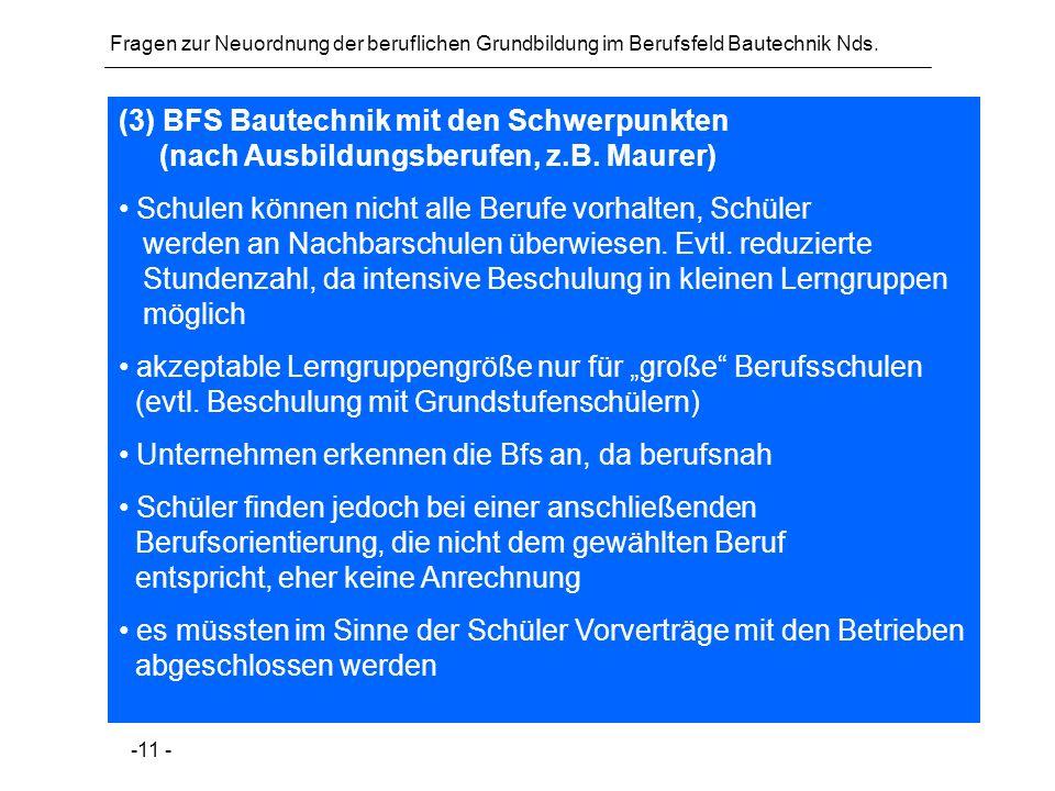 Fragen zur Neuordnung der beruflichen Grundbildung im Berufsfeld Bautechnik Nds. -11 - (3) BFS Bautechnik mit den Schwerpunkten (nach Ausbildungsberuf