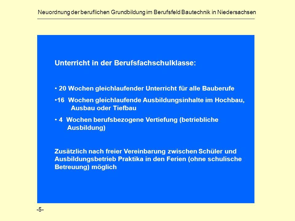 Neuordnung der beruflichen Grundbildung im Berufsfeld Bautechnik in Niedersachsen Unterricht in der Berufsfachschulklasse: 20 Wochen gleichlaufender U