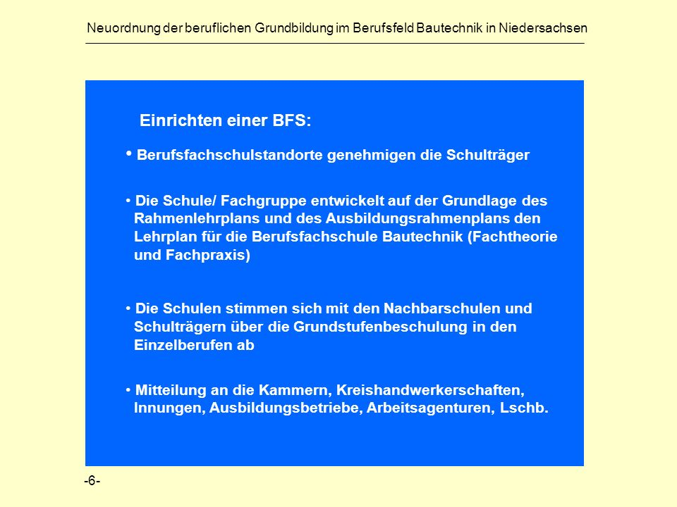 Neuordnung der beruflichen Grundbildung im Berufsfeld Bautechnik in Niedersachsen Einrichten einer BFS: Berufsfachschulstandorte genehmigen die Schult