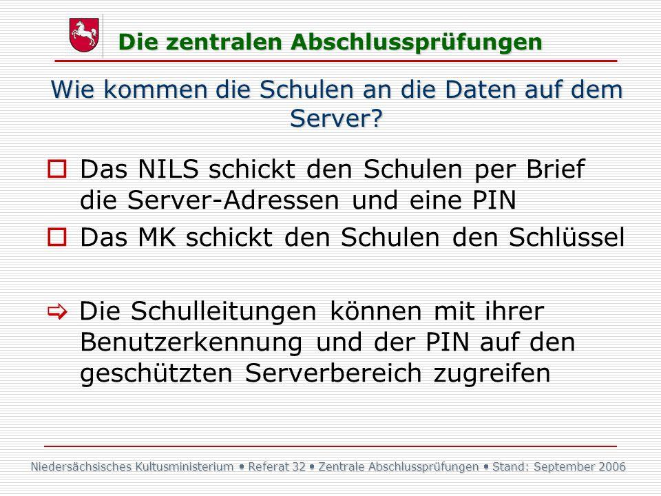 Niedersächsisches Kultusministerium Referat 32 Zentrale Abschlussprüfungen Stand: September 2006 Die zentralen Abschlussprüfungen Wie kommen die Schul
