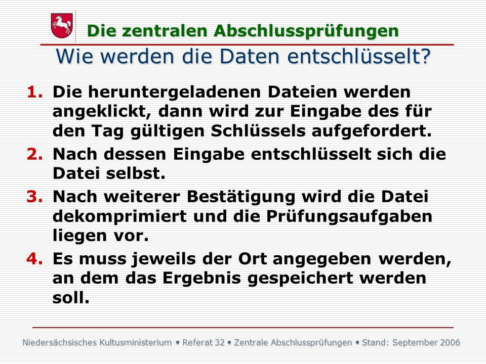 Niedersächsisches Kultusministerium Referat 32 Zentrale Abschlussprüfungen Stand: September 2006 Die zentralen Abschlussprüfungen Wie werden die Daten