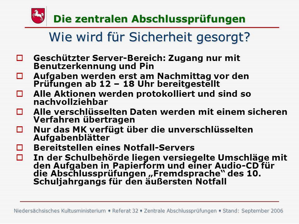 Niedersächsisches Kultusministerium Referat 32 Zentrale Abschlussprüfungen Stand: September 2006 Die zentralen Abschlussprüfungen Wie wird für Sicherh