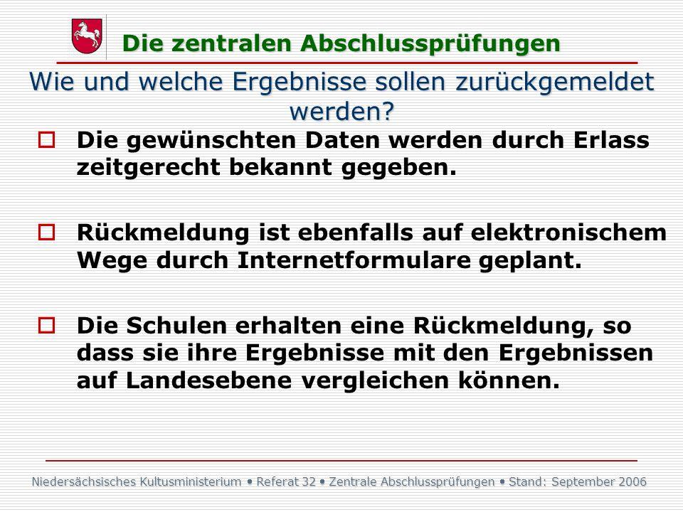 Niedersächsisches Kultusministerium Referat 32 Zentrale Abschlussprüfungen Stand: September 2006 Die zentralen Abschlussprüfungen Wie und welche Ergeb